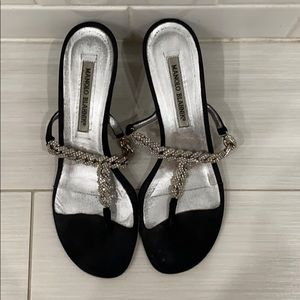 Manolo Blahnik Shoes - short black kitten heels with diamond chain straps